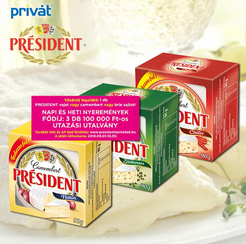 Vásárolj President terméket és NYERJ!